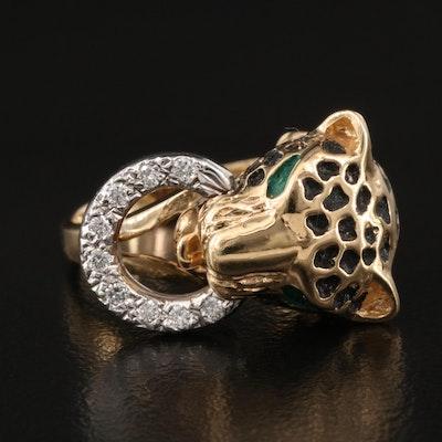 14K Diamond Leopard Door Knocker Ring