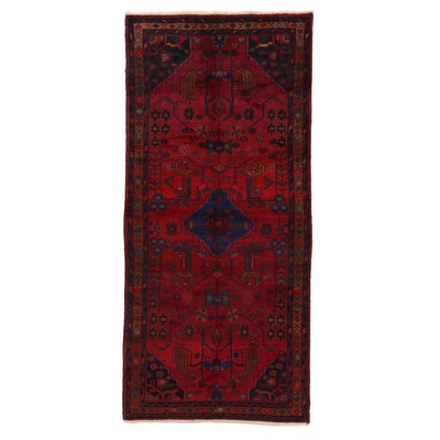 4'8 x 10'3 Hand-Knotted Persian Zanjan Rug, 1950s