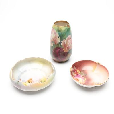 Habsburg Hand-Painted Porcelain Vase with Noritake Porcelain Bowls