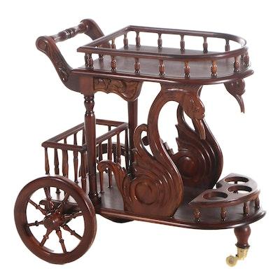 Empire Style Mahogany Drinks Cart, Late 20th Century