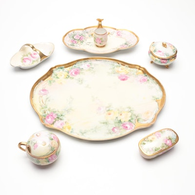 Hobbyist Hand-Painted Floral Porcelain Vanity Tray and Accessories