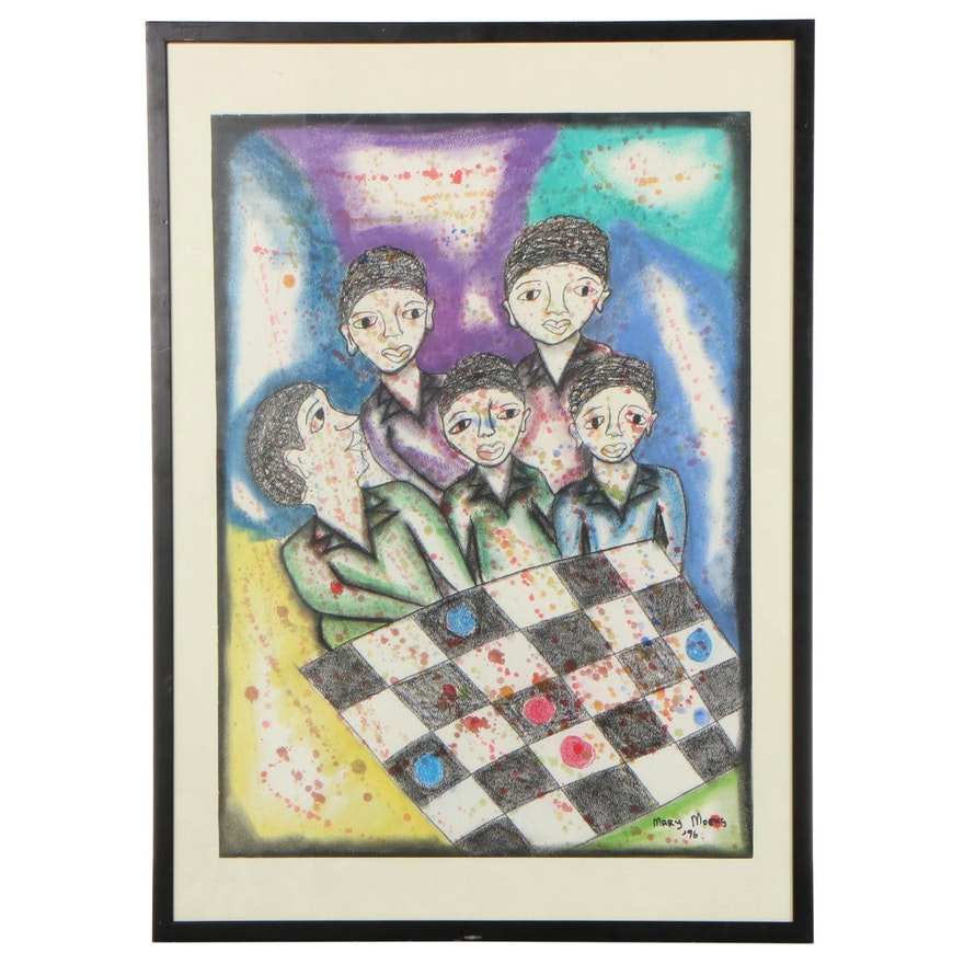 Mary Moens Mixed Media Drawing of Figures Playing Checkers, 1996