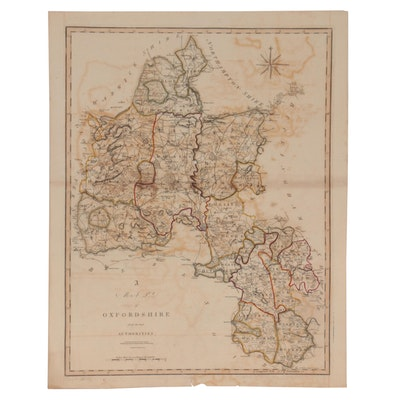 John Cary Hand-Colored Engraving Map of Oxfordshire, 1805