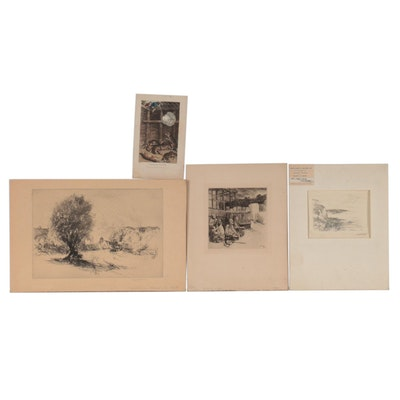 Landscape and Genre Scene Engravings and Lithograph