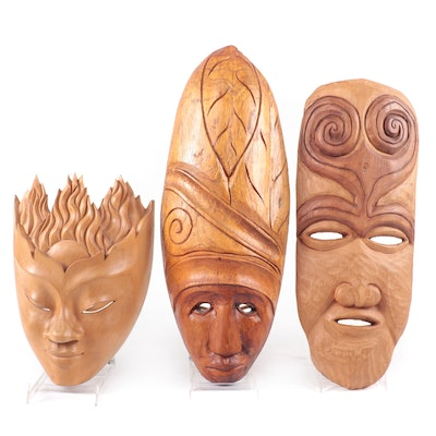 Haitian, Balinese, and Other Carved Wood Masks