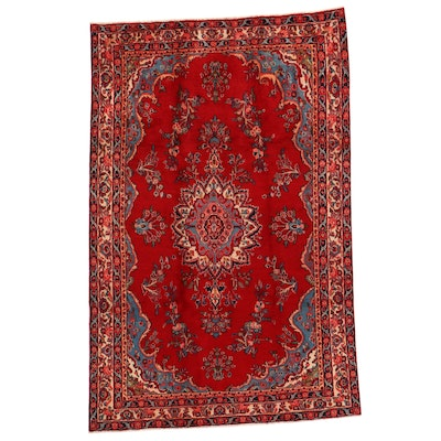 6'3 x 9'10 Hand-Knotted Persian Kazvin Rug, 1970s