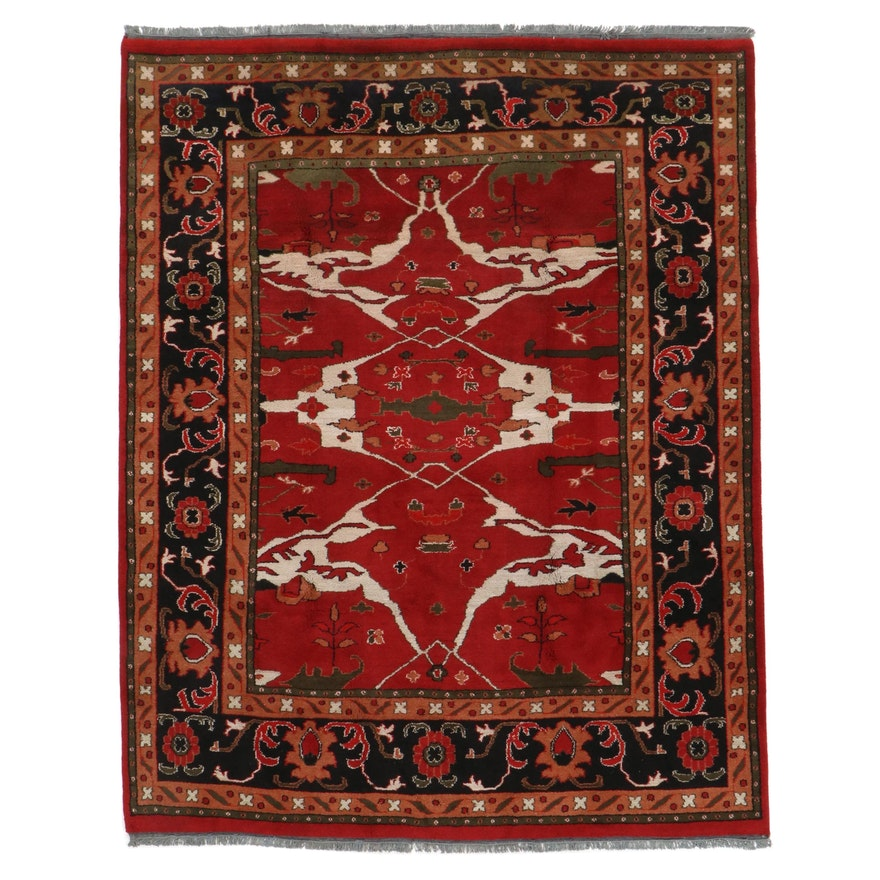 7'10 x 10' Hand-Knotted Indo-Turkish Oushak Rug, 2010s