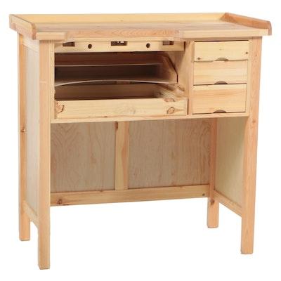 Contemporary Pine Jeweler's Workbench