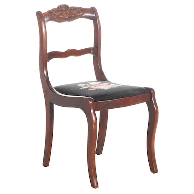 Victorian Style Walnut-Finish Needlepoint Upholstered Side Chair