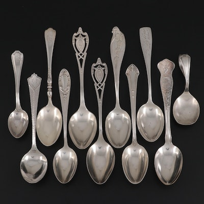 Reed & Barton and Other Sterling Silver Spoons with Silver Plate Spoon