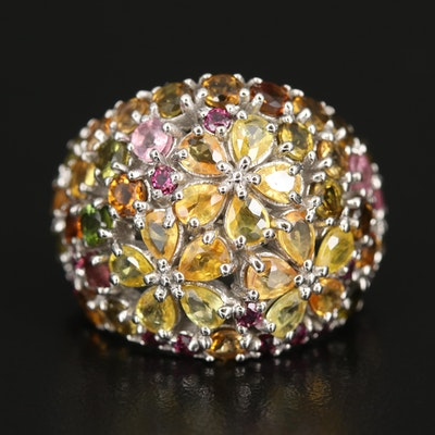 Sterling Sapphire, Tourmaline and Rhodolite Garnet Domed Floral Ring