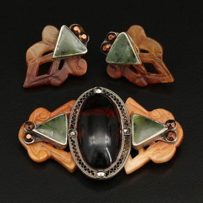 Vintage Serpentine, Nephrite and Marcasite Brooch with Matching Earrings