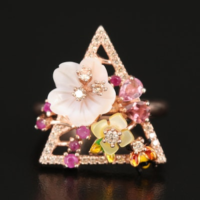 Sterling Geometric Ring Including Ruby, Tourmaline and Mother of Pearl