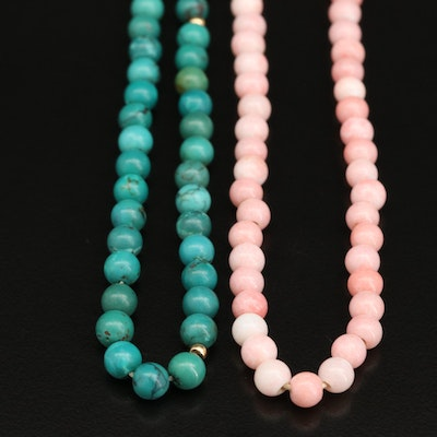 Beaded Turquoise and Glass Endless Necklaces
