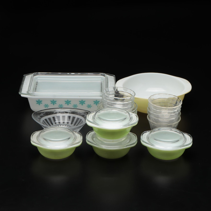 """Pyrex """"Snowflake"""" Baking Dish with Other Bakeware and Ramekins"""