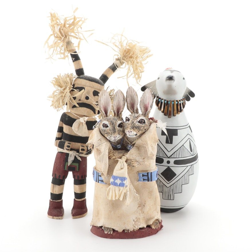 Cliffton Lomayaktewa Kachina Doll with Pueblo Carved and Other Figures
