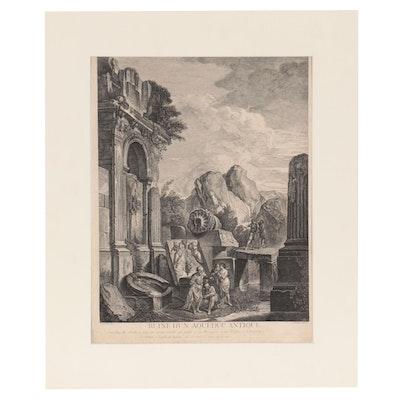 "Jean Moyreau Engraving ""Ruine d'un Aqueduc Antique,"" Mid-18th Century"