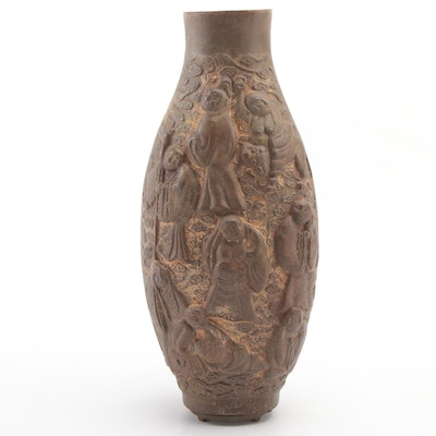 Japanese Iron Vase with Immortals Motif