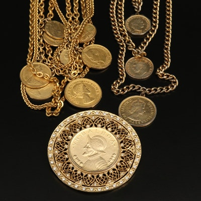 Jewelry Selection of Reproduction International Coins Including Great Britain