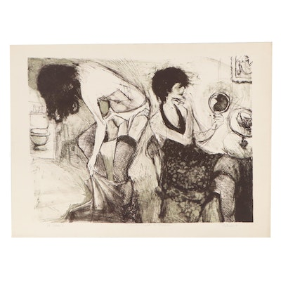 """Figural Lithograph """"Women with a Mirror,"""" Late 20th Century"""