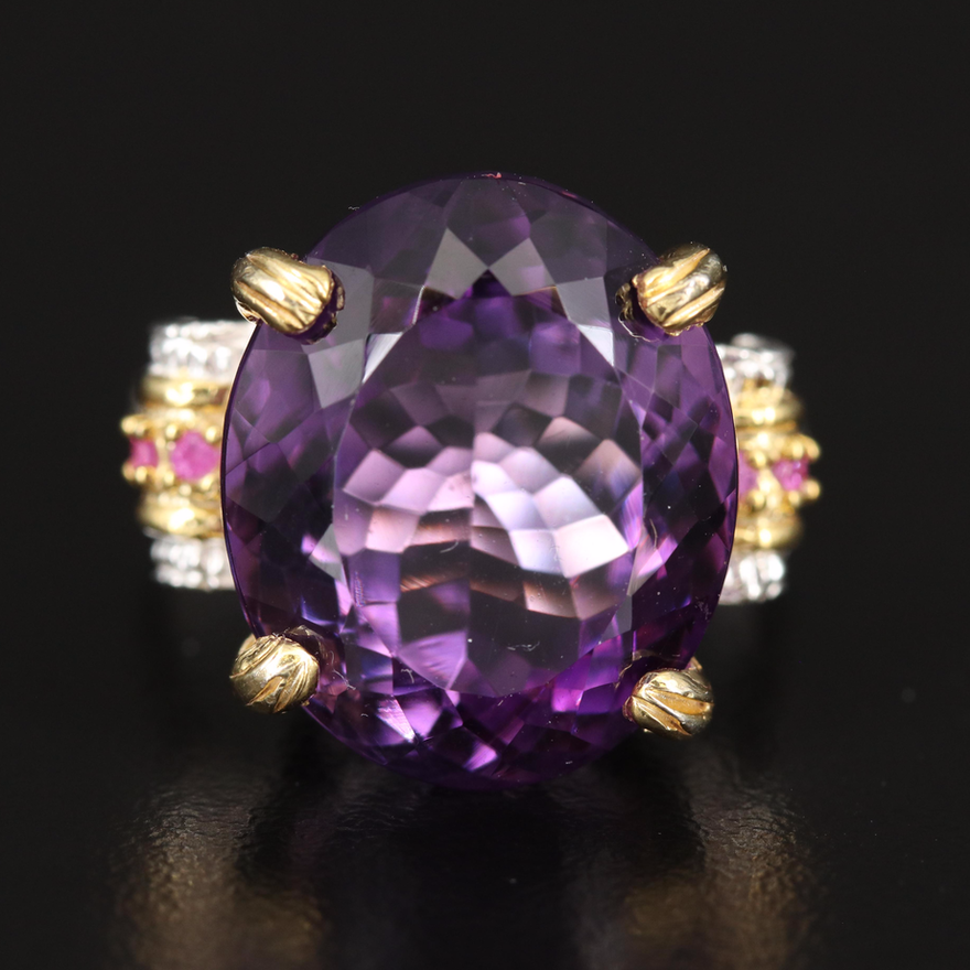 Sterling Amethyst and Ruby Biomorphic Ring