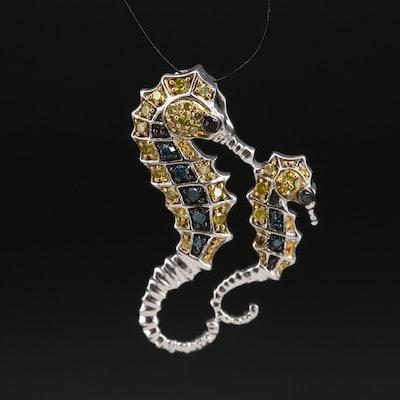 Sterling Diamond Seahorses