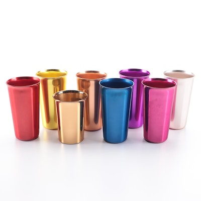 Norben Ware Vintage Anodized Aluminum Tumblers and Cups, Mid-20th C.