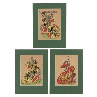 Woodcuts After Loredan Larchey's Ancient Equestrian Armorials