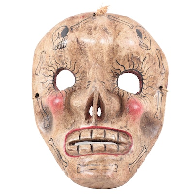 Mexican Hand-Carved Skull Mask