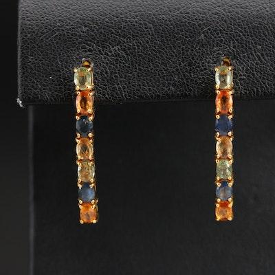 Sterling Multicolor Sapphire Earrings