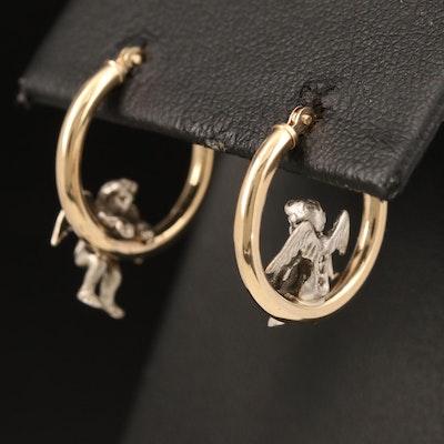 14K Hoop Earrings with Sterling Cherubs
