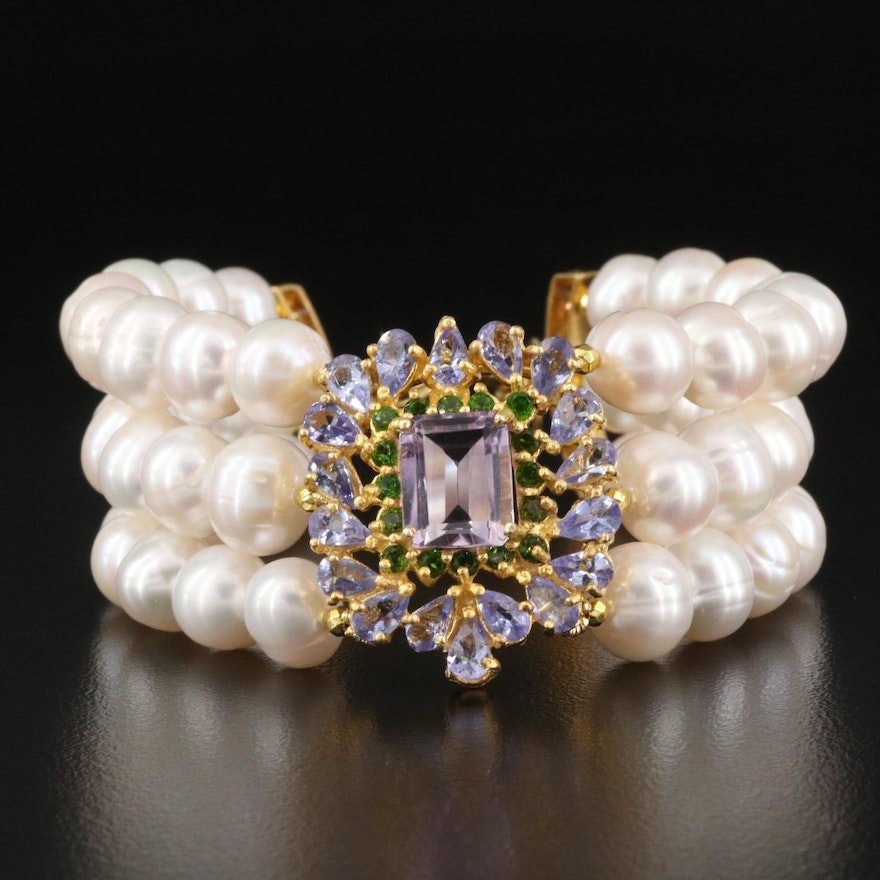 Triple Strand Pearl, Amethyst and Tanzanite Bracelet with Sterling Clasp