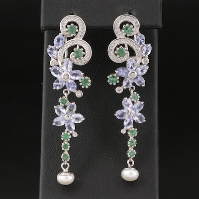 Sterling Silver Pearl, Tanzanite and Emerald Floral Drop Earrings