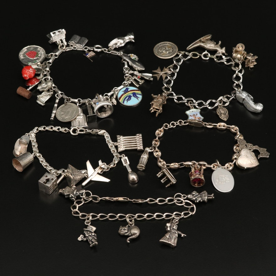 Selection of Vintage Charm Bracelets Featuring Sterling and 800 Silver Charms