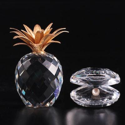 "Swarovski ""Oyster"" and ""Pineapple"" Crystal Figurines"