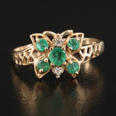 10K Emerald Openwork Butterfly Ring