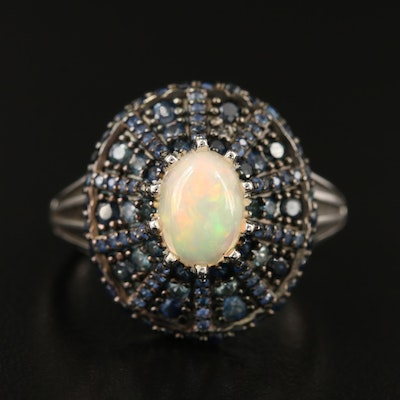 Sterling Opal and Sapphire Ring
