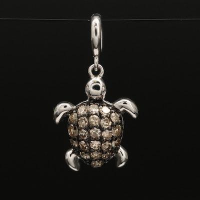 Sterling Silver Pavé Diamond Sea Turtle Pendant
