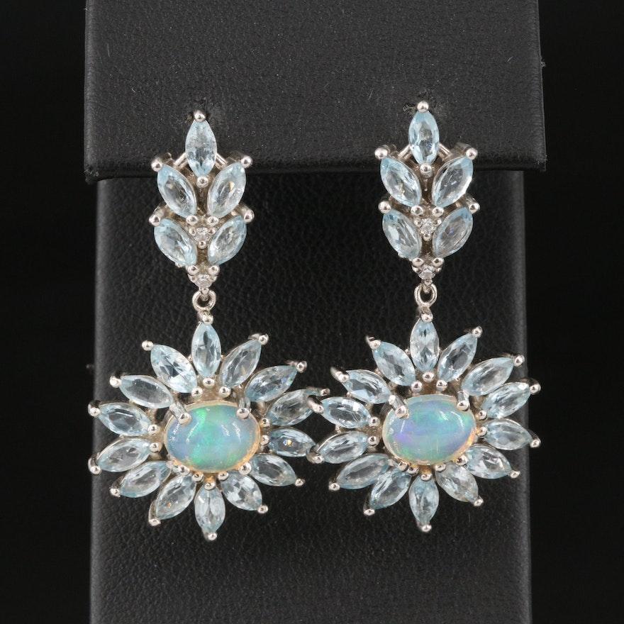 Sterling Silver Opal and Sky Blue Topaz Floral Motif Drop Earrings