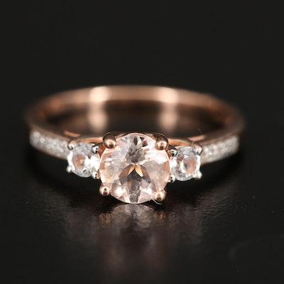 10K Morganite and Sapphire Ring