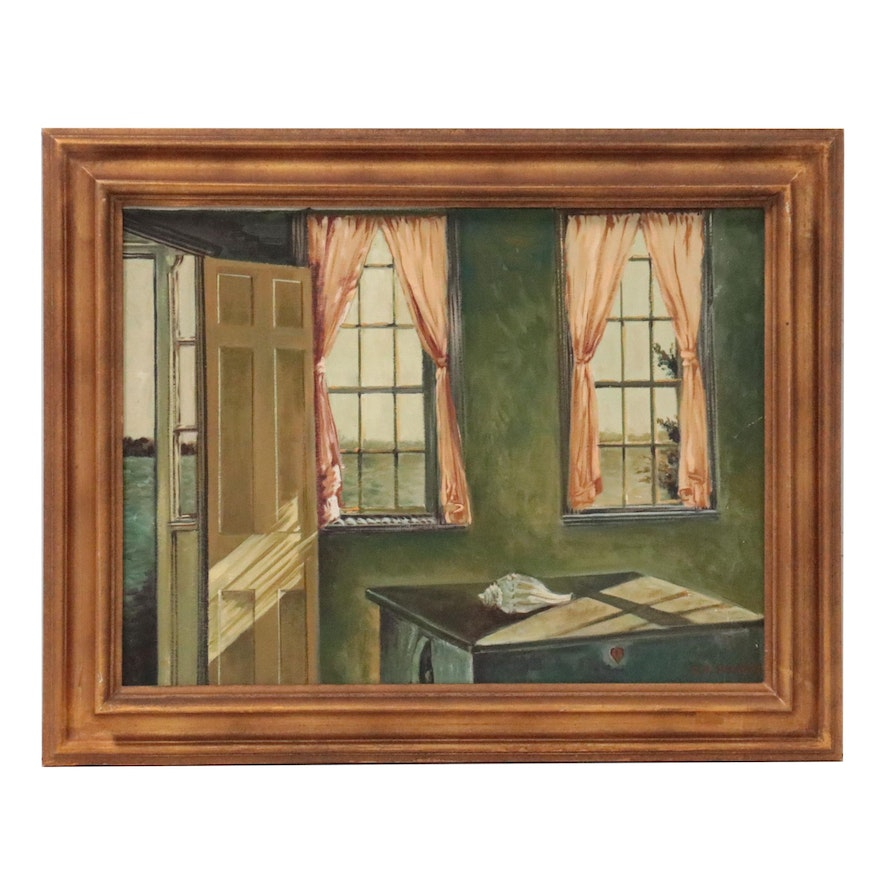 C. H. Huang Oil Painting of Interior, Late 20th Century