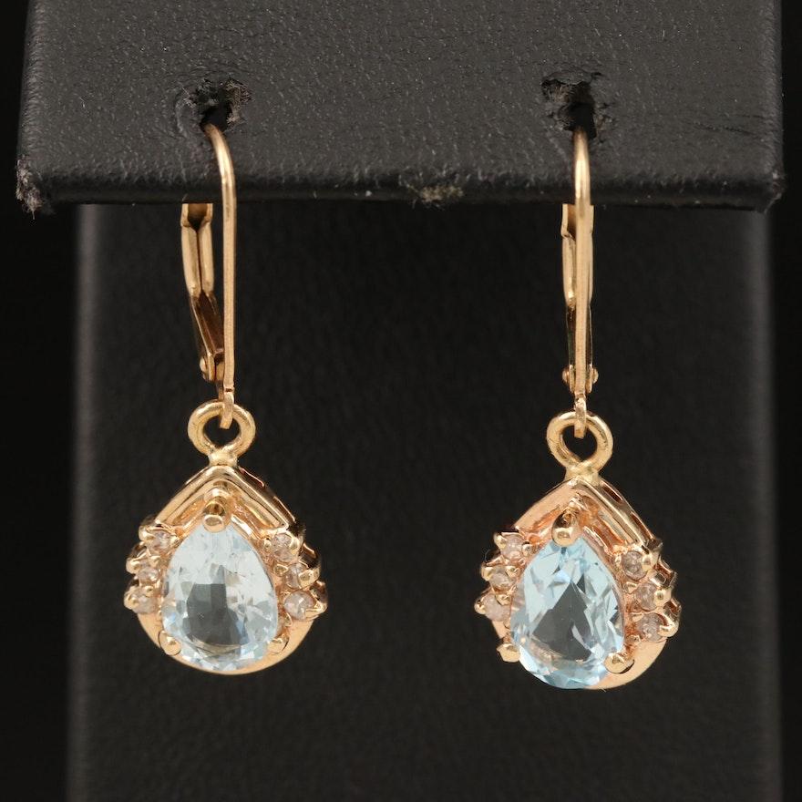 14K Topaz and Diamond Earrings