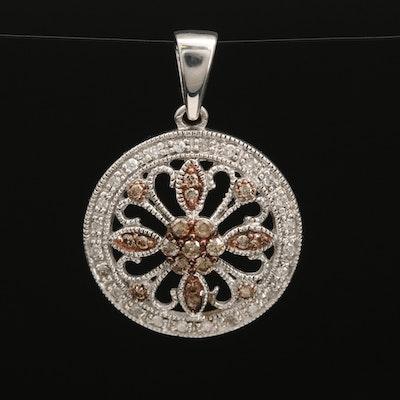 Sterling Silver Diamond Slide Pendant with Milgrain Detail