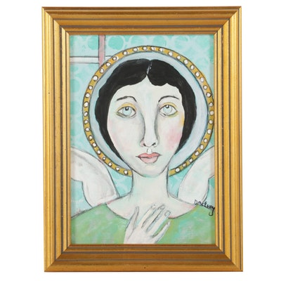 "Deborah McEvoy Portrait Acrylic Painting ""Heartfelt,"" 21st Century"