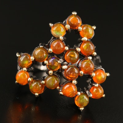Sterling Fire Opal Cluster Ring