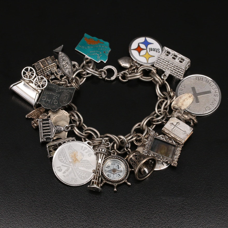 Vintage Sterling Charm Bracelet Featuring Beau and Wells
