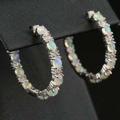 Sterling Opal and Cubic Zirconia Inside Out Hoop Earrings