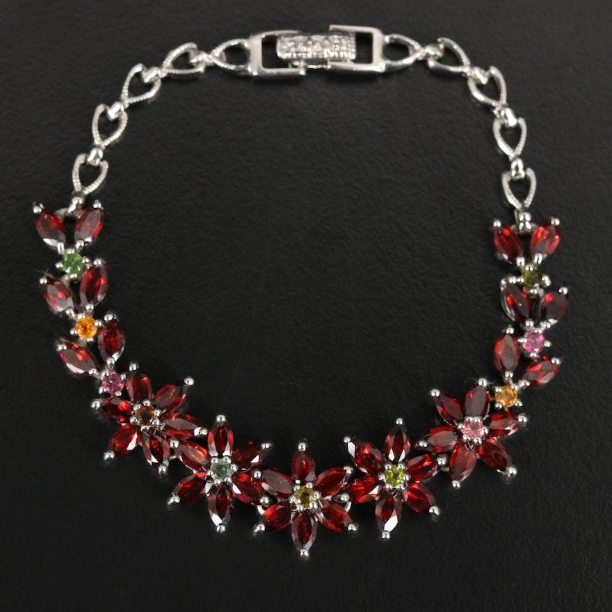 Sterling Garnet and Tourmaline Flower Link Bracelet