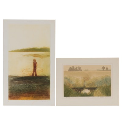 Joan Purcell and Michael Carlo Tonalist Landscape Prints, Late 20th Century
