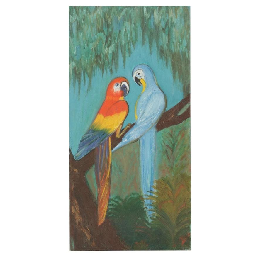 Parrots Portrait Oil Painting, Mid-Late 20th Century